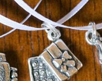 Sterling silver box of chocolates cake pull charm on white satin ribbon by kellylynndesigns on etsy.com