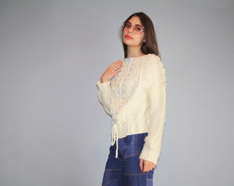 Vintage 70s Hand Knit Irish Wool  Cable Knit  Ivory Cardigan  - Vintage Cable Knit Sweater - Vintage Sweaters  -  WO0314