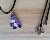 Purple Eeyore Black Cord Necklace - Disney Charms - Charm Bracelet - Gifts for Girls