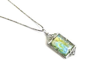 Antique Edwardian Opalescent Green Molded Celluloid Pendant Necklace - Sterling Silver Box Chain - Vintage Art Deco - Petite - RARE