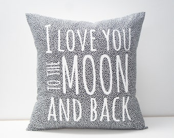 Pillow Cover - I love you to the moon and back Pillow Cover, 20x20, black and white confetti dots, monochrome, screenprint