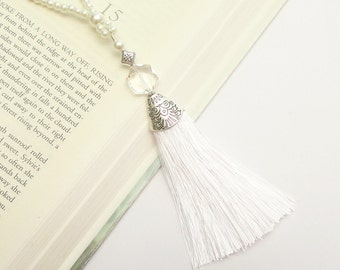 Pearl Tassel Necklace, Silver Necklace Tassel, White Silk Tassel Necklace, Long Tassel Pendant Necklace, Long Tassel Necklace, For Women