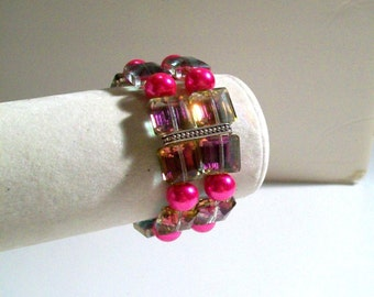 """Double Strand Cuff Bracelet & Earrings Set in Begonia, Hot Pink Pearl, Rose Swarovski Crystal, Sizes 6' to 9"""" in Length"""