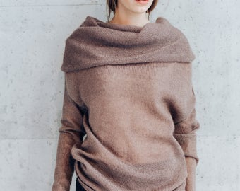 Knitted Sweater. Kid Mohair Silk Sweater. Cowl Neck Long Sleeve Pullover. Knitted Sweater. Wide Turtleneck.