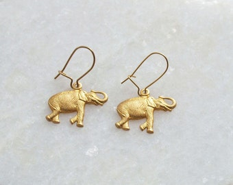 Elephant Earrings . Small Safari Animal Kidney Ear Wires . Gold Raw Brass . Womens Jewellery . Dangle Drop Charm Jewelry . Gifts for Women