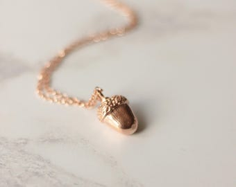 Acorn necklace, rose gold acorn necklace, woodland jewellery, nature jewellery