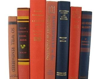 Orange Vintage Books,  Decorative Books, Wedding Decor, Used Books, Bookshelf, Gift For Book Lover, Gift for Her, Home Decor,  Photo Prop