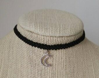 Boho Style Moon Choker Necklace, Adjustable Length