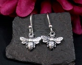 Tiny Bee Earrings Sterling Silver Small Honey Bee Earrings, Small Silver Dangle, Bee Charm Earrings, Nature Jewelry, Gift for Her