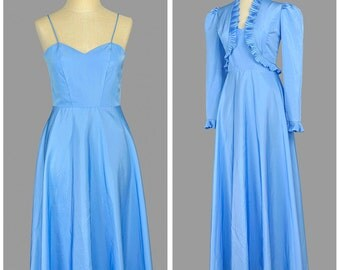 Vintage 70s Evening Gown Dress Set • Blue Taffeta Dress and Ruffled Bolero Jacket • Sweetheart Fit and Flare Full Skirt Long Formal Dress XS
