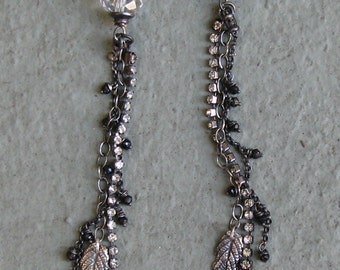 REDUCED 20% Sterling Silver, Black Spinel, Long, Crystal, Earrings, Shoulder Sweep