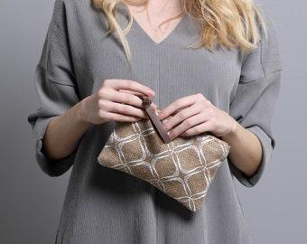 Women's Small Pouch Printed Purse Jute Eco Friendly  Wallet for women Minimalist Zipper purse