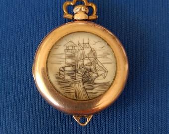 SCRIMSHAW WATCH CASE Pendant Antique Gold Pocket Watch Case Vintage Mixed Media
