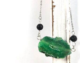Green Druze Agate essential oil  diffuser necklace