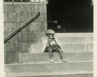 """Vintage Photo """"A Picture of Youth"""" Little Boy Kid Sitting Front Step House Building Urban City Child Black & White Photograph Found - 148"""
