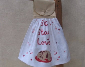 Dog Lover Kitchen Towel, Dog Lover Gift, Kitchen Towels, Sit Stay Love, Saying Towel, Hanging Hand Towel