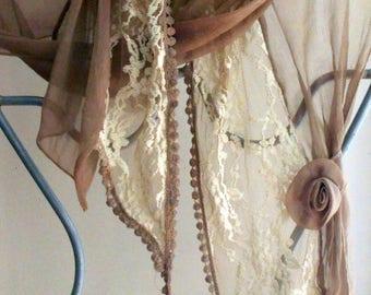 Bridesmaid Gift,Lace scarf,Lace Shawl,Beige Lace Scarf,Lace Fashion Scarf,Mother of the Bride Shawl,Boho,Wedding Shawl, Lingerie