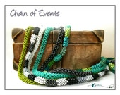 Beading Pattern, Instructions, Tutorial, Flat Cubic Right Angle Weave Chain, Long Boho Style, Beaded Ropes CHAIN OF EVENTS