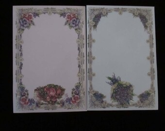 Two Notepads Flowers Violets Paper Supply Magnetic Back Pad Paper Crafting Notes Cottage Chic Supplies Designs YourFineHouse SHIPSWORLDWIDE