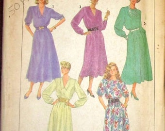 Vintage 1980s Easy Sewing Pattern Simplicity 7800, Blouson Dress, Gored Skirt Womens Misses Size 10 12 14 Bust 30 31 32 Uncut Factory Folds
