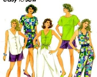 Simplicity 7900 Size 6 to 16 Misses Pants or Shorts, Tops Sewing Pattern Supply V Neckline Deep Shirt Tail Cropped Length Shorts Pattern ff