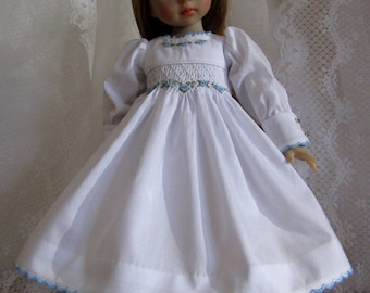 "Smocked Dress Petticoat Hair Piece for 13"" Little Darling Dolls-White Liberty of London-Juried Stitchery Artist-Free US Ship"