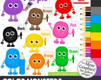 Color monsters - Monster clipart - Clip Art and Digital paper set - Learning colors