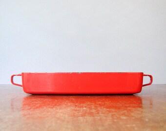 Mid Century Danish Modern Dansk Kobenstyle Red Enamel Baking Pan / Dish
