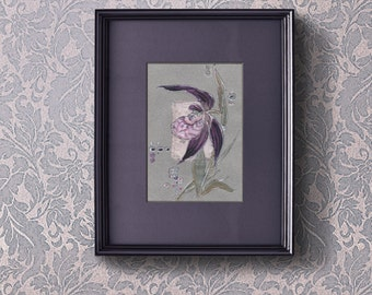Lavender Venus Slipper orchid - Purple orchid - Painting on paper and viscose satin Floral orginal artwork home decor mixed media art - OOAK