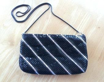 Black & Silver Evening Bag Shiny Mesh Slinky