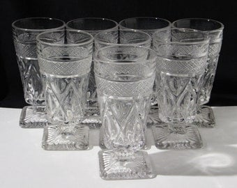 Set of 8 Imperial Glass, Cape Cod Pattern Juice Glasses