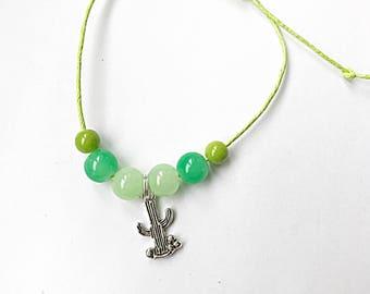 Green Beaded Cactus Bracelet, Beaded Cacti Bracelet, Adjustable Cord Bracelet, Cacti Bracelet, Green Bracelet, Cactus Jewellery, Teen Gift
