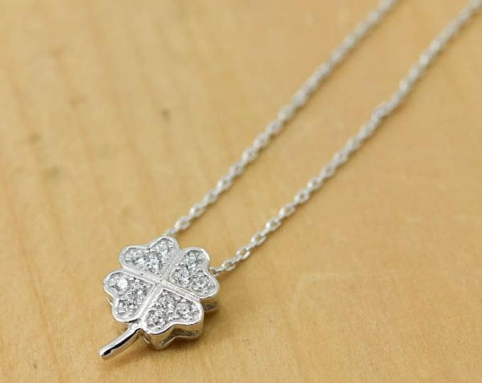 Clover Necklace, Clover Pendant, 925 Sterling Silver, Crystal Necklace Pendant, Bridesmaid Gift, Bridesmaid Necklace