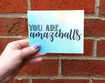 You Are Amazeballs Thank You Single Card with Matching Gray Envelope