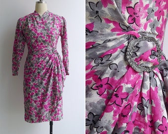 15% SALE (Code In Shop) - Vintage 80's Does 40's 'Fuchsia Florals' Draped Wiggle Dress XS