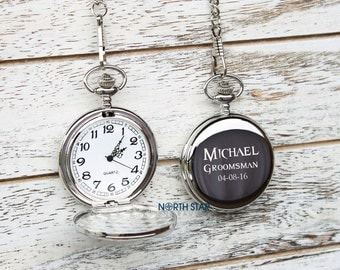 Personalized Pocket Watch, Groomsmen gift, Engraved Pocket Watch, Will you be my groomsman, Mens Personalized, Custom Watch, Groom gift