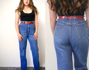 high waisted wrangler denim jeans/ 1970s/ western wear/ small - medium