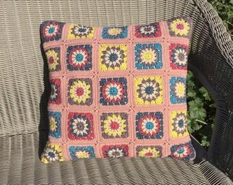 Crochet cushion.  FREE UK P&P. Crochet pillow. Retro colours cushion.