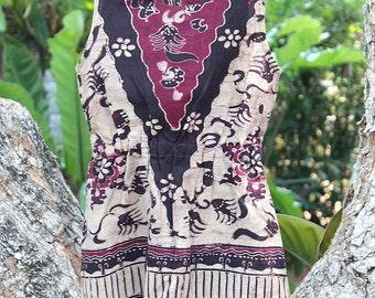 Little Girls Boho Dress In Bali Batik With Fringe, Tan And Berry Cotton Summer Dress With Fringe, 4 - Sasha FREE Worldwide Shipping