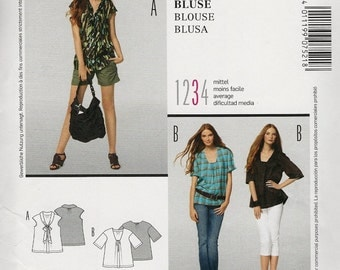 Burda 7521 Ladies blouse top gathered front v neckline or bow extended or short sleeves Size 10-12-14-16-18-20-22-24 Uncut sewing pattern