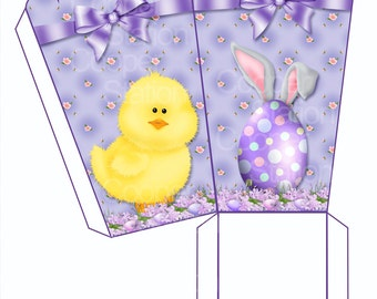 Digital Printable Easter Large And Small Popcorn Box- Party Favor - Easter Snack Box
