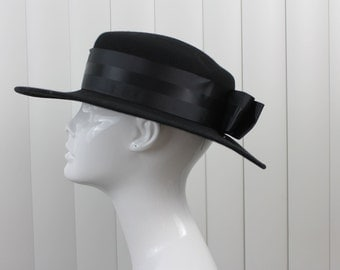 Vintage Black Wool Madeline Hat Michael Howard