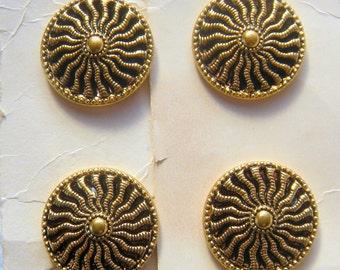 4 Gold Sunburst, 23 mm Buttons, Twinkling Mirror-Back with Subtle Lavender, 4 buttons on Original Cards, Casa de Leon, 23mm,  Pierced Design