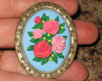 Pink Rose Victorian Roses Vintage Inspired Antique Bronze Brooch Lapel Pin
