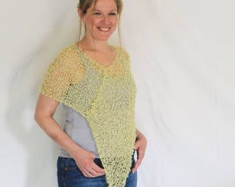 Yellow summer poncho, very light poncho, loose knit poncho, Eudora
