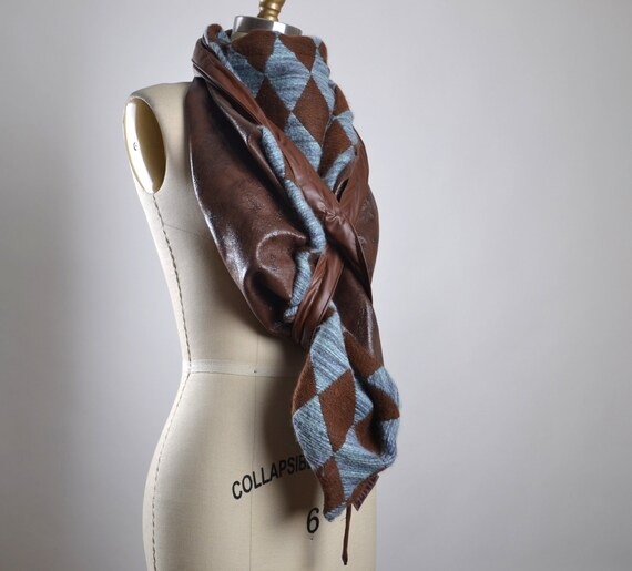 OOAK Leather Scarf - Big Leather Scarf - Leather Scarf - Women's Scarves - Fall Fashion - Gift for her