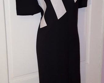 NEW WAVE DRESS // 80's Black and White Striped Shelly Michaels Dress Size 15/16 Plus Size Short Sleeves Shoulder Pads