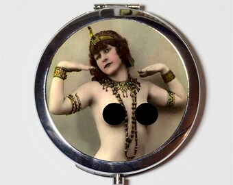 Nude Cleopatra Art Deco Compact Mirror - Flapper 1920's Jazz Age Roaring Mature Risque - Make Up Pocket Mirror for Cosmetics
