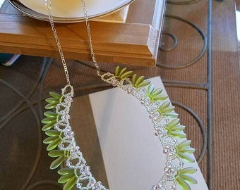 lime green necklace, lime green jewelry, woven necklace, beaded necklace, woven jewelry, bead woven necklace, seed beads necklace