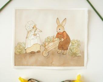Original Painting: Farmer O'Hare - spring rabbits, watercolor art children's illustration, nature, animals, woodland, bunny, bunnies, garden